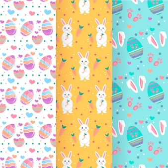 Easter day pattern collection with eggs and bunnies