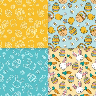 Easter day pattern hand drawn collection