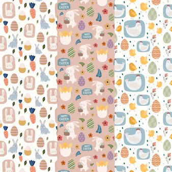 Easter day pattern set with flat design