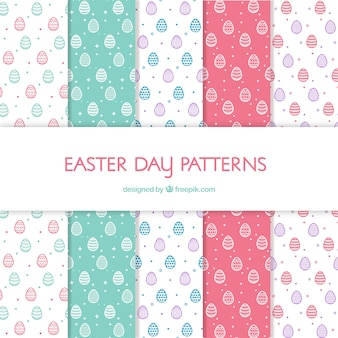 Easter day patterns collection in flat style
