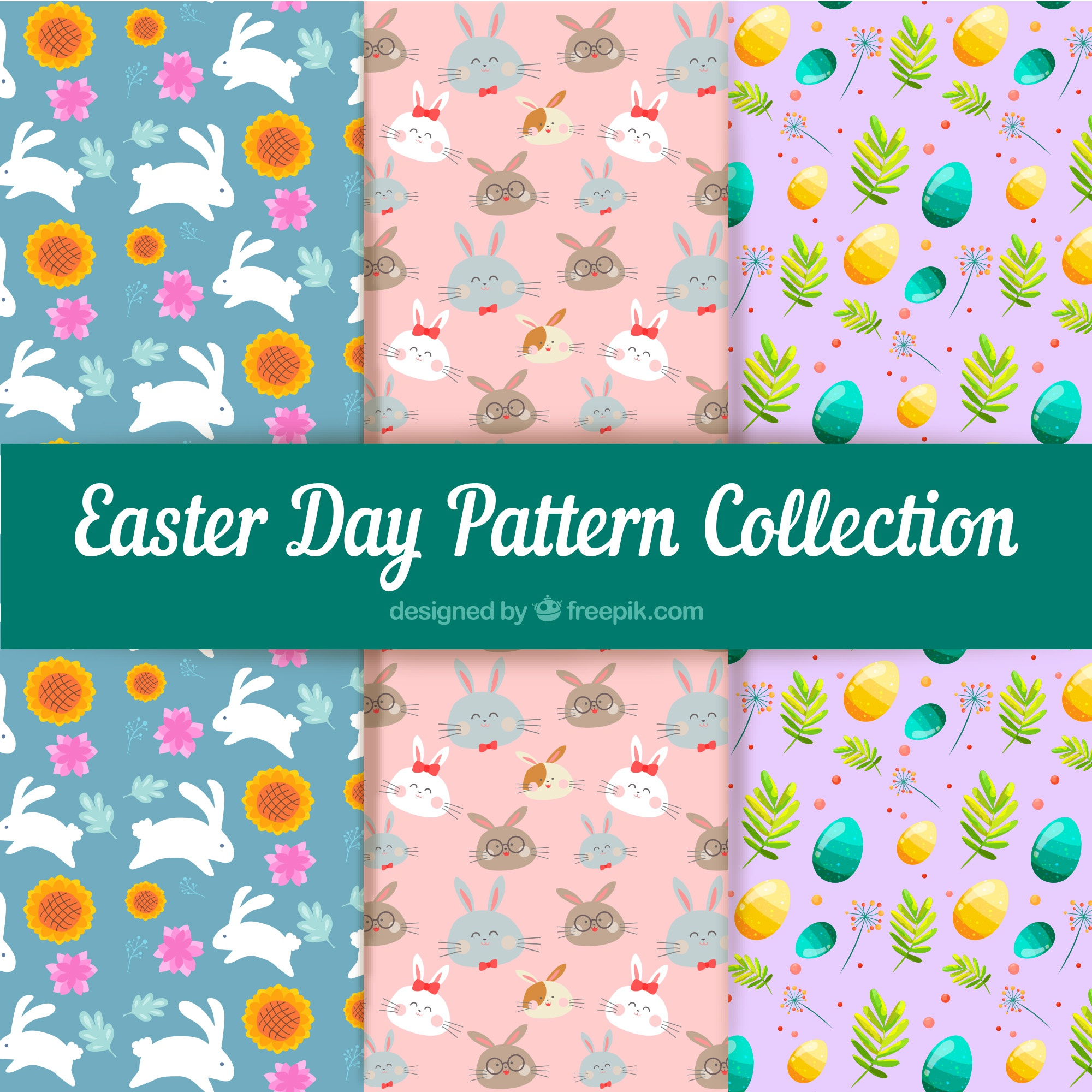 Easter day patterns collection with eggs and animals
