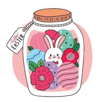 イースターの日、ガラスの瓶の手でウサギと卵と花がかわいい漫画を描きます。