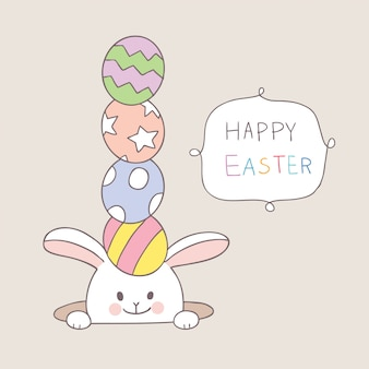 Easter day rabbit with colorful eggs