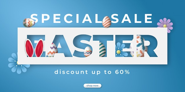 Easter day sale for social media banner with egg ornament