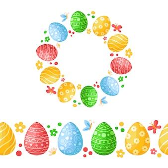 День пасхи - бесшовный узор с пасхальными яйцами, бабочкой, цветами и венком или круглая рамка