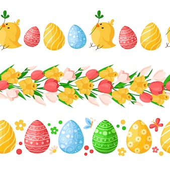 Easter day seamless borders with colorful easter eggs, chickens, butterfly, spring flowers