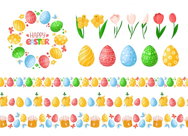 Easter day seamless borders with easter eggs, chickens, cakes and wreath or round frame, lettering