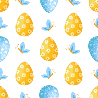 Easter day - seamless pattern with easter eggs, butterfly