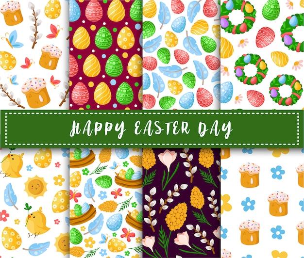 Пасха - бесшовный фон с пасхальными яйцами, пирожными, ивами, курицей, перьями