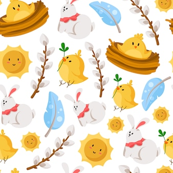 Easter day - seamless pattern with rabbit, chicken, feathers, sun, willow branches on white