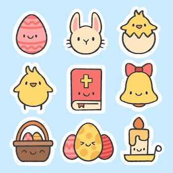 Easter day sticker hand drawn cartoon collection
