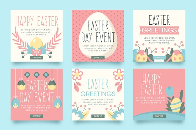Easter day theme for instagram post collection