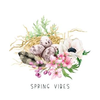 イースターの装飾、干し草と花と鳥の卵、手描きの水彩イラスト。