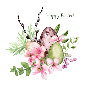 イースターの装飾、柳と花と3つのイースターエッグ、手描きの水彩イラスト。