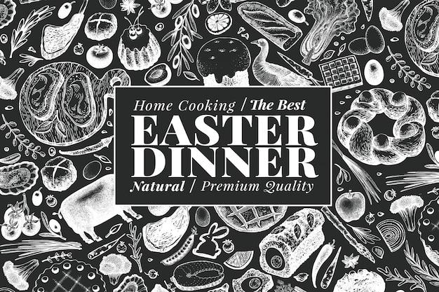 Easter dinner banner template.