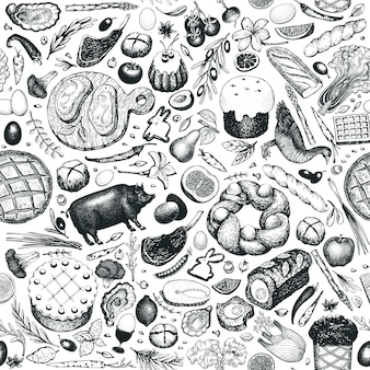 Easter dinner seamless pattern