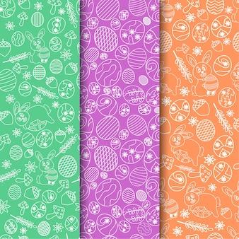 Пасхальный каракули бесшовный фон дизайн. пакет из трех цветов premium векторы