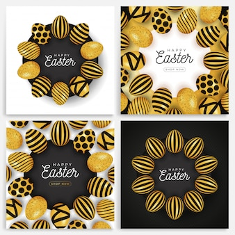Easter egg banner set. easter card collection with eggs laid out in a circle on a black plate, gold and black ornate eggs
