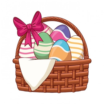 Easter egg basket with ribbon isolated