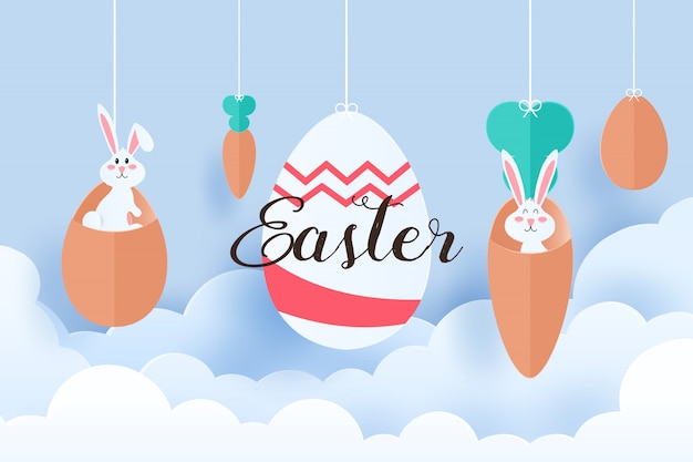 Easter egg and bunny in paper cut style.