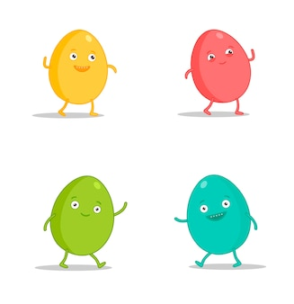 Easter egg character emoji set. funny cartoon emoticons
