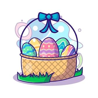 Коллекция пасхальных яиц в корзине на пасху вектор значок иллюстрации