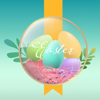 Easter egg colorful and ribbon background.