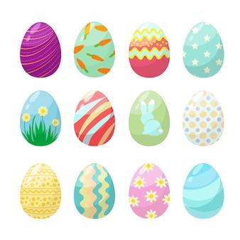 イースターエッグ。かわいいポロカラフルな装飾が施されたお祝いの卵のコレクション。イースターエッグのコレクション、装飾、伝統のイラスト