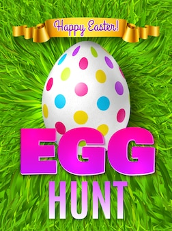 Easter egg hunt festive poster background with editable colourful text grass surface egg and golden ribbon  illustration