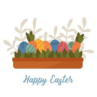 Игра охота на пасхальные яйца в коробке растений