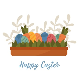 Easter egg hunt game in plant box