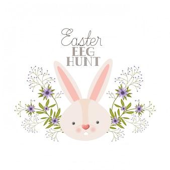 Ярлык охоты на пасхальные яйца с изображением головы кролика