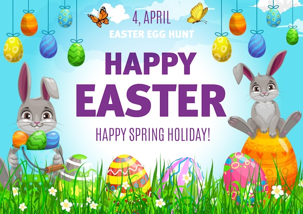 Easter egg hunting poster, cute bunnies and decorated eggs on field with flowers and butterflies