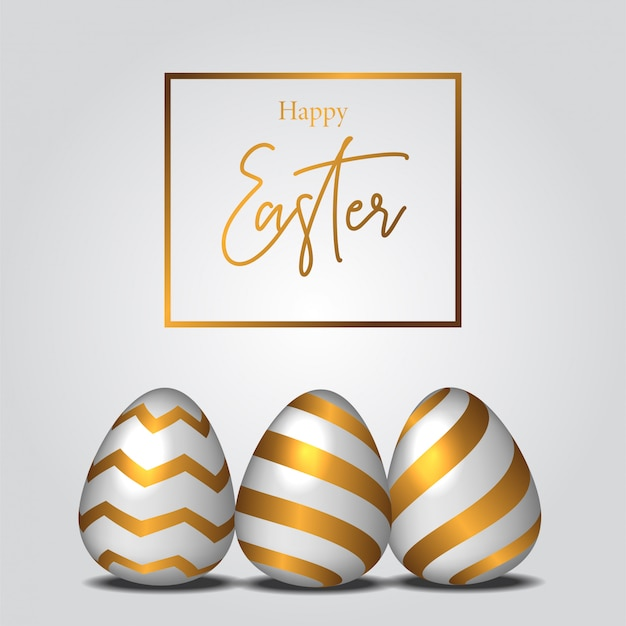 Easter egg illustration with golden color decoration
