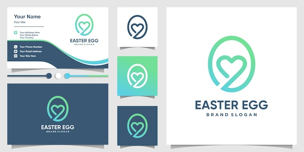 Easter egg logo with cute love gradient color concept and business card design premium vector