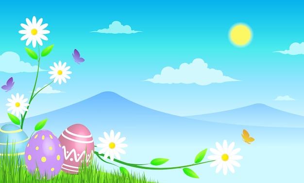日当たりの良い草原の背景にイースターエッグ。美しい風景。春の花