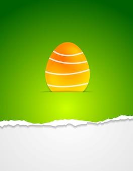 Пасхальное яйцо вектор зеленый фон с рваными краями бумаги