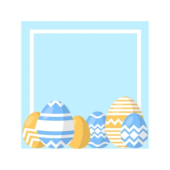 Easter egg vector set of easter eggs in a frame