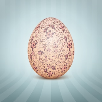 The easter egg with a floral pattern ornament