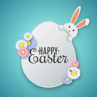 Easter egg with happy easter text. cute cartoon rabbit with spring flowers.