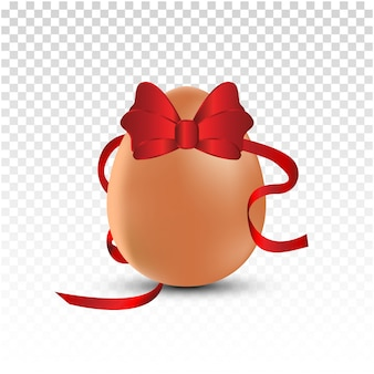 Easter egg with a red satin bow