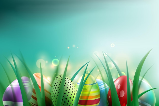 Easter eggs background with abstract bokeh