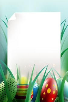 Easter eggs background with blank paper template