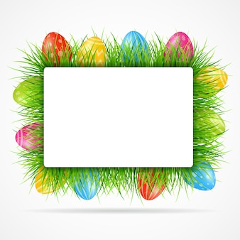 Easter eggs background with grass and blank sign