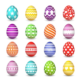 Easter eggs collection. christian resurrection tradition happy easter celebration egg with colorful pattern  isolated