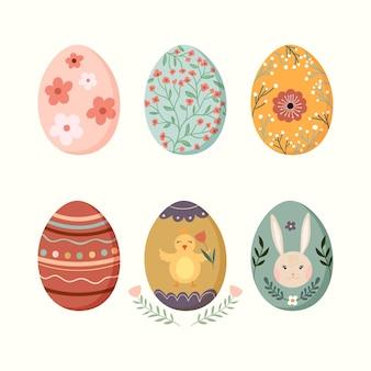 계절 디자인으로 장식 된 부활절 달걀 컬렉션