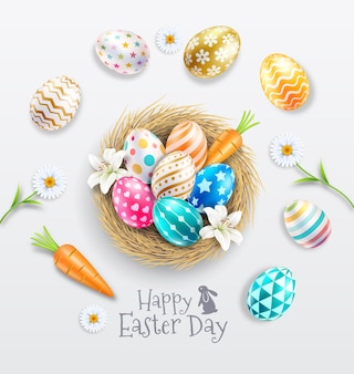 백합과 데이지 꽃과 둥지에 다채로운 부활절 달걀. 프리미엄 벡터