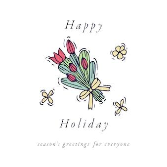 イースターエッグの組成物。白い背景の上のチューリップアイコンのカラフルな線形花束。春の花。