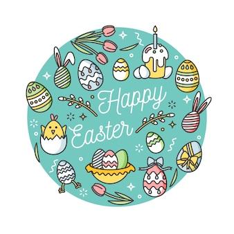 Состав пасхальных яиц. красочные линейные иконки на белом