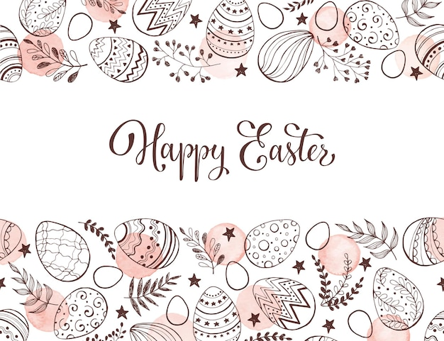 Easter eggs composition hand drawn background with  leaves and watercolor dots.
